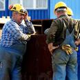 workers in safety head wear