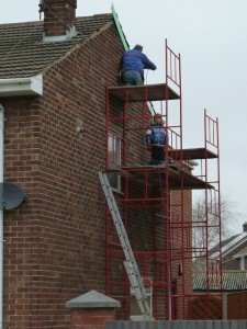 Scaffolding on side of buildiing