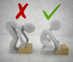 cartoon charcters shown lifting a box the correct and incorrect way