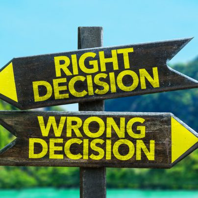 Right decision Wrong decision written