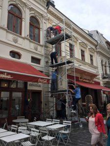 Men working up Scaffolding