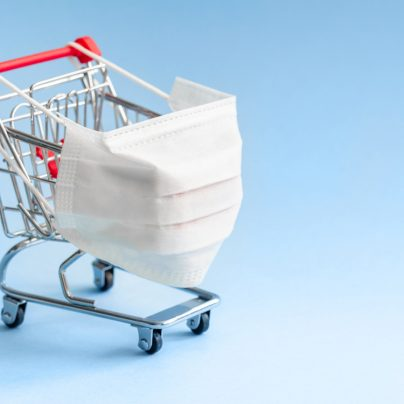 shopping trolley wearing mask